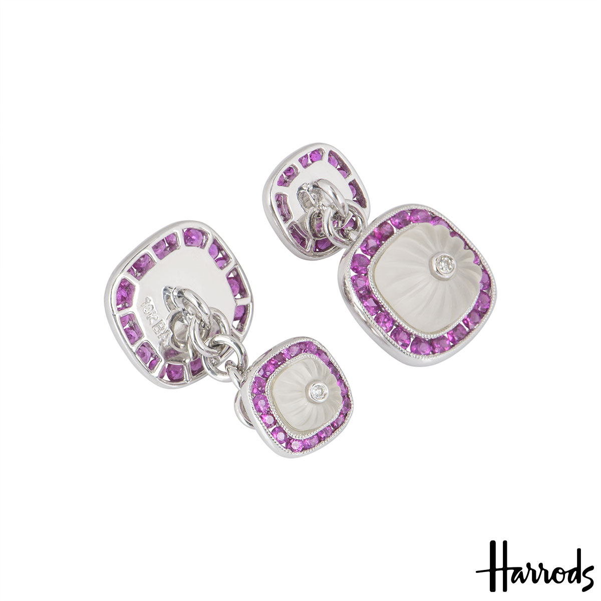 Harrods White Gold Diamond & Multi-Gem Cufflinks